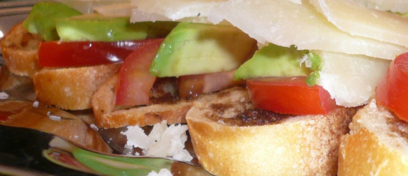 Tomato and Avocado Canapes with Manchego Cheese