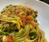 Zucchini and Squash Noodles with Roasted Tomatoes & Fresh Basil